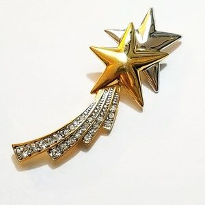 Shooting Falling Stars Silver Gold Brooch